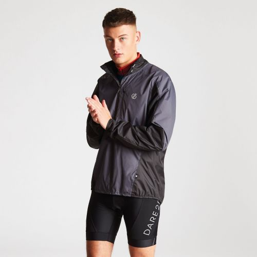 Men's Mediant Lightweight Reflective Waterproof Shell Jacket Quarry Grey Black